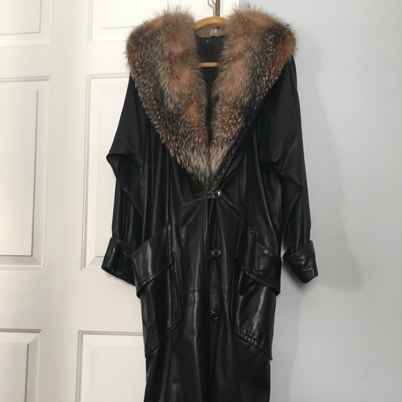 e58dbb403 Full Length Leather Coat with Silver Fox Collar